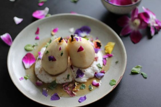 Poached Pears with Coconut Cream   |    Follow us for more delicious vegan recipes  |  Save recipes from anywhere on your iPhone or iPad with @RecipeTin – without typing them in! Find out more here: www.recipetinapp.com   #recipes #vegan