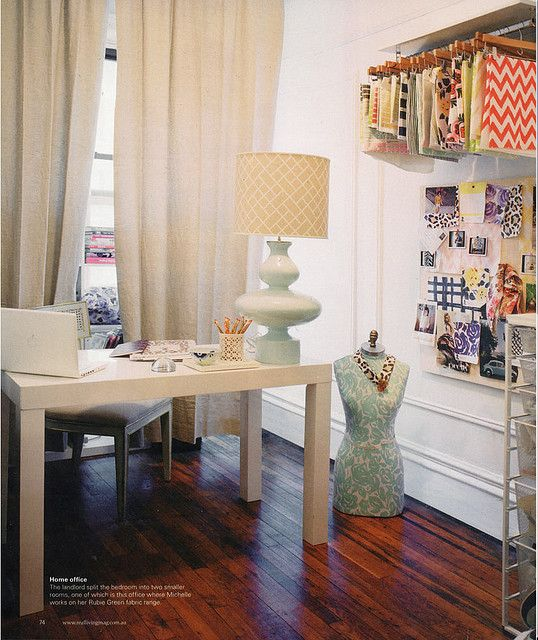 Parsons desk + hidden storage + Jonathan Adler lamp