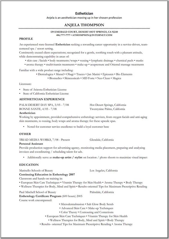 Great resource for Estheticians Skincare Pinterest - esthetician resume sample