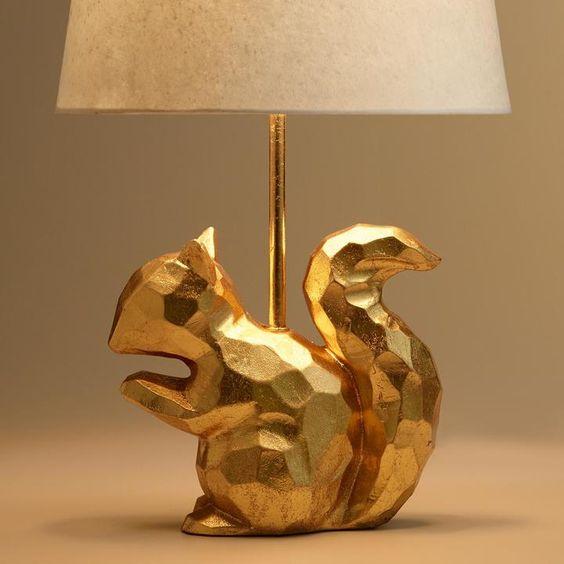 Gold Geo Squirrel Accent Lamp Base Lamp Bases Room Lamp Animal Lamp