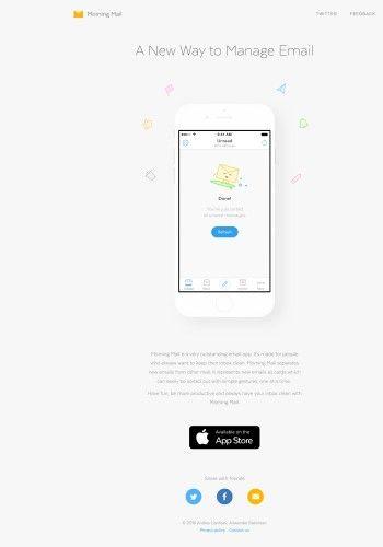 Morning Mail mobile app landing page