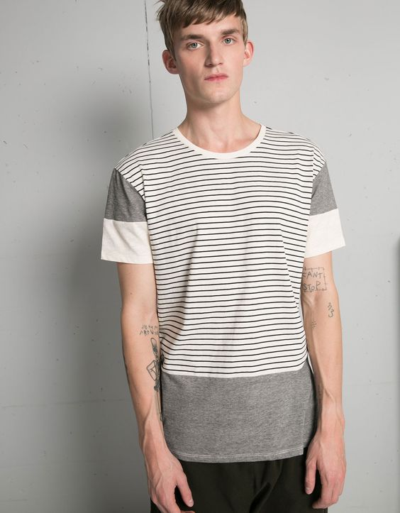 T-shirt riscas textura - T-shirts - Bershka Portugal