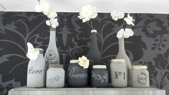 Grey and white bottles and pots