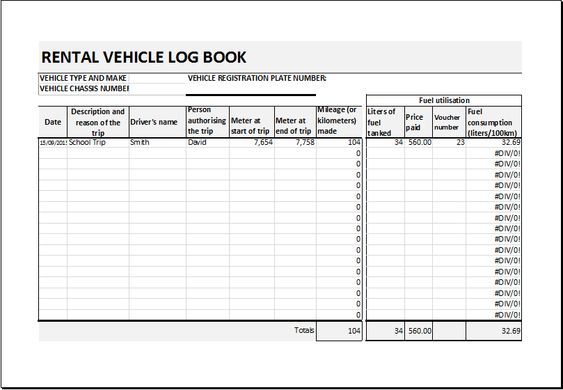 Rental vehicle log book template DOWNLOAD at    www - rental ledger template