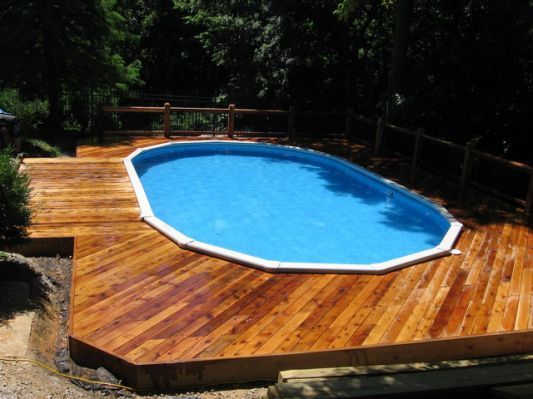Image result for wooden decks around inground pools pool decking - pool fur garten oval