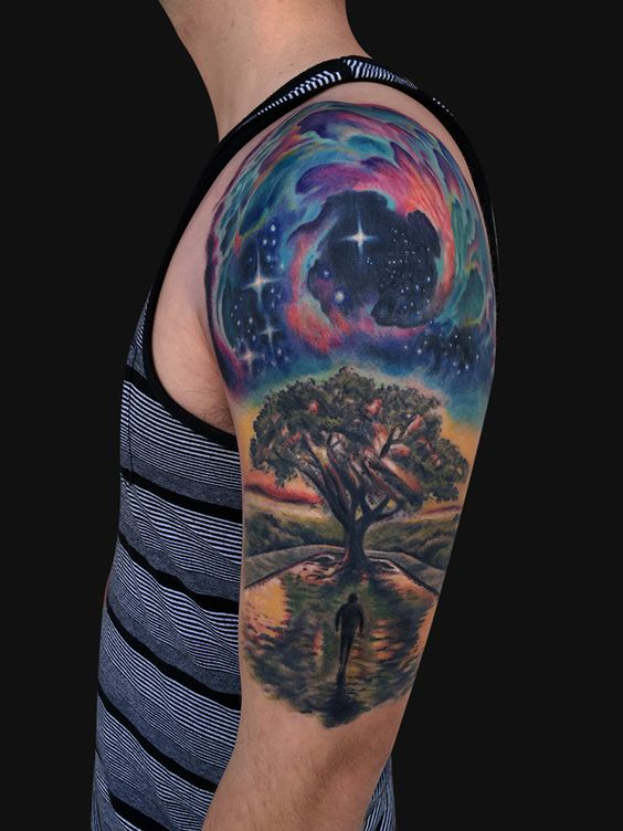 Galaxy tree tattoo google search tattoos pinterest for Galaxy tattoo sleeve