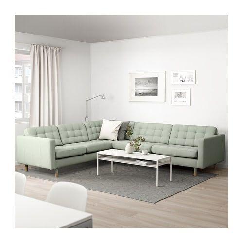 Landskrona Hoekbank 5 Zits Gunnared Lichtgroen Hout Ikea Green Couch Living Room Green Sofa Living Corner Sofa