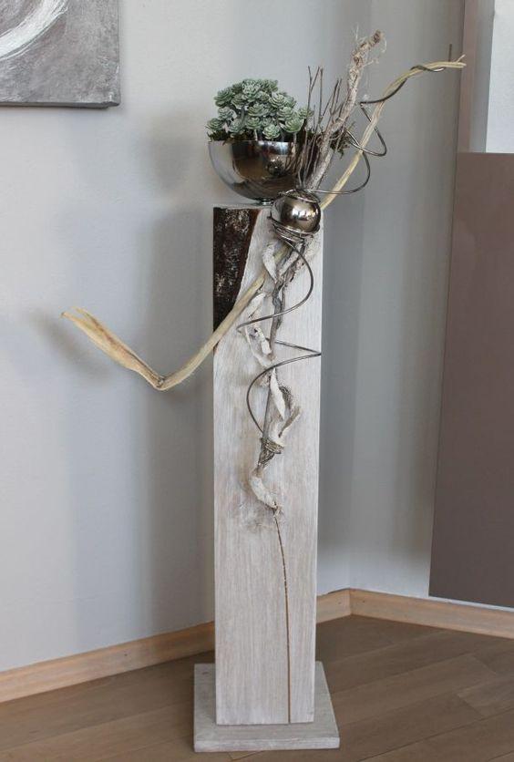 GS41 – Unikat! Einzigartige Dekosäule für Innen und Außen! Einzigartig in der Beschaffenheit des Holzes, da es am oberen Teil eine natürliche Verfärbung hat! Natürlich dekoriert mit einer Edelstahlkugel und einer Edelstahlschale zum bepflanzen! Preis 84,90€