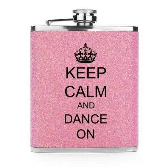 Light Pink Glitter Bling 7Oz Stainless Steel Hip Flask Keep Calm And Dance On