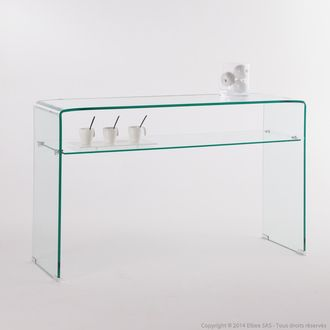 console en verre tremp longueur 125 cm avec 1 tag re. Black Bedroom Furniture Sets. Home Design Ideas