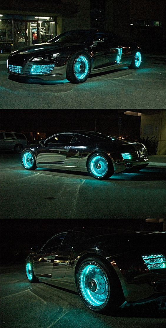 Customized Tron-Styled Audi R8 holy cowwwwwwwwwwwww that is totally the car I am getting: