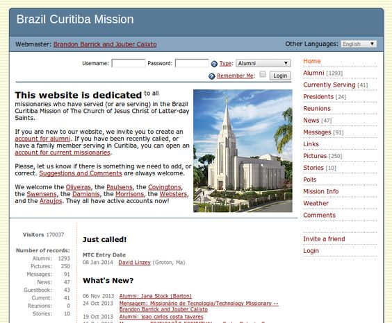 Curitiba missionary alumni website.