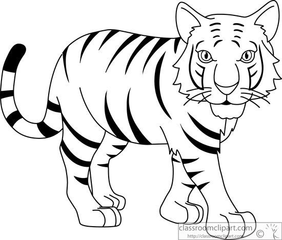 Stripped bengal tiger black white outline 914jpg Clip Art