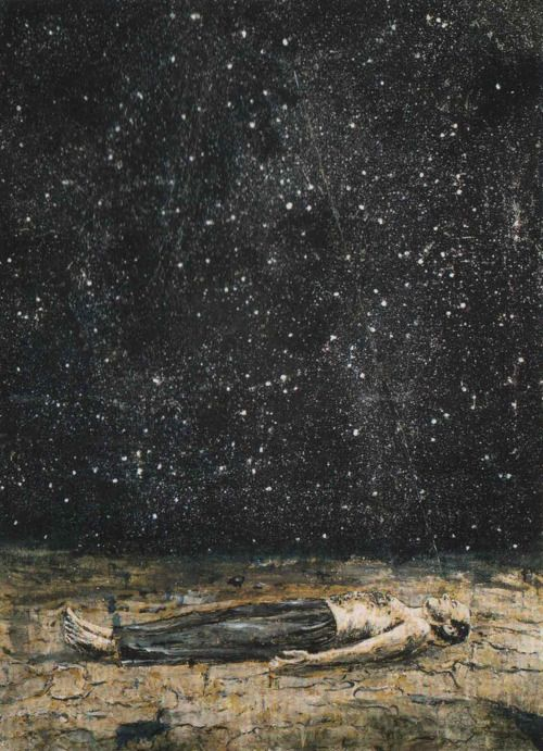"""Starfall painted by Anselm Kiefer, 1995  The stars are like letters which inscribe themselves at every moment in the sky. Everything in the world is full of signs. All events are coordinated. All things depend on each other; as has been said: """"Everything breathes together.""""  —Plotinus"""