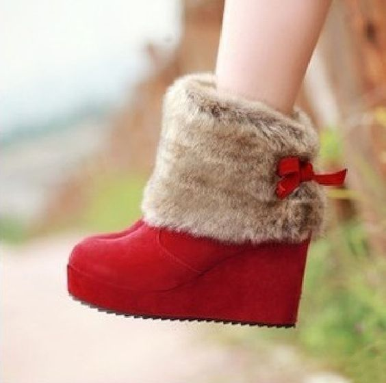 autumn and winter high-heeled shoes vintage sweet bow platform boots wedges boots snow boots