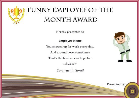 Colorful Employee Of The Month Certificate Templates With Thoughtful Words And Select Funny Awards Certificates Employee Awards Certificates Funny Certificates