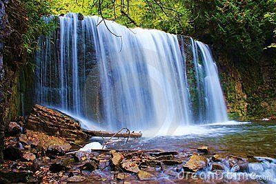 Hoggs Falls on the Boyne River, near Flesherton, Ontario, Canada. One of many waterfalls that are created by rivers falling over the Niagara Escarpment. Hoggs Falls in near Eugenia Falls, another impressive waterfall on the escarpment.