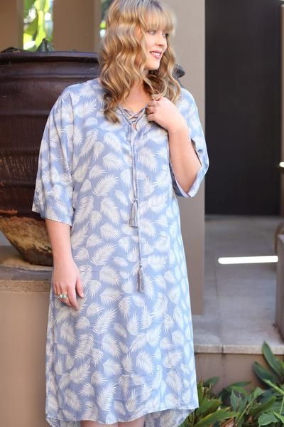 Boho Feather Print Dress    Crossed Dress in Blue Palm (Plus Size)