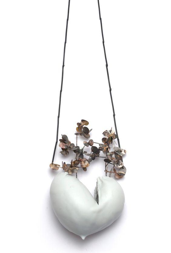 "Gabriela Cohn -   ""Heartn"" necklace - Porcelain / Silver / Oxidize Silver / Resine / Marble W 11 x L 18 x H54:"