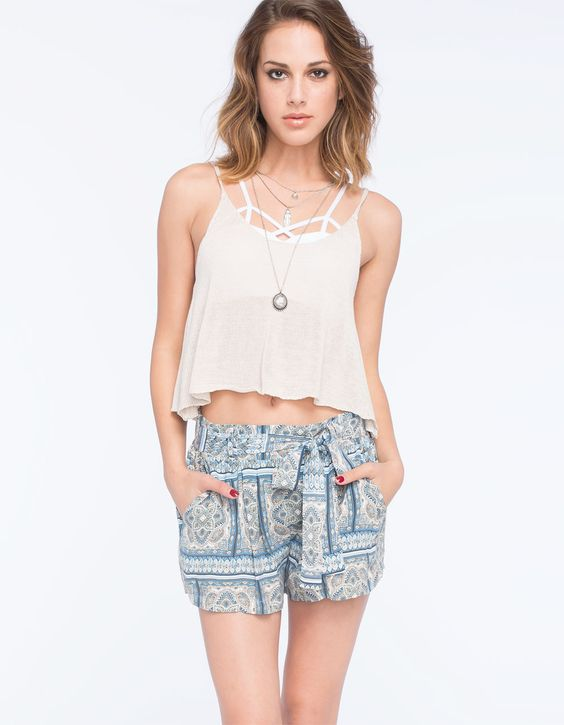 BOOM BOOM JEANS Tie Waist Womens Shorts 253981200 | Shorts
