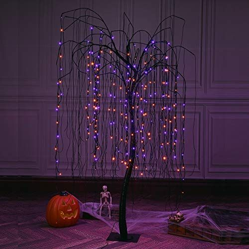 EAMBRITE 2FT Black Glitter Spooky Tree Lights with 24 LED Purple Lights and Black Bat Ornaments for Halloween Witch Decoration Battery Operated Indoor Use