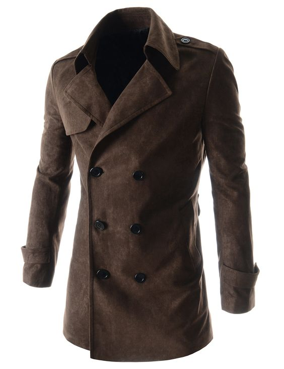 Mens Slim Fit Notched Lapel Double Breasted Belted Suede Trench Coat by OSUNG