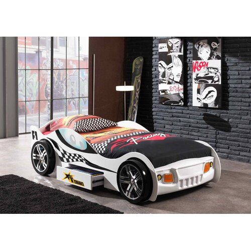 Esser European Single Car Bed Zoomie Kids Body Colour Glossy White Lacquered In 2020 Car Bed Toddler Car Bed Bed