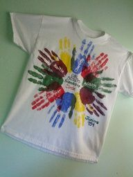"""cute tshirts... we made this kind for our Daisy Girl Scout leaders - each girl put her handprint - leader's name on the front and then """"Daisy Leader"""" on the back. ♥ you Trisha and Tina!"""
