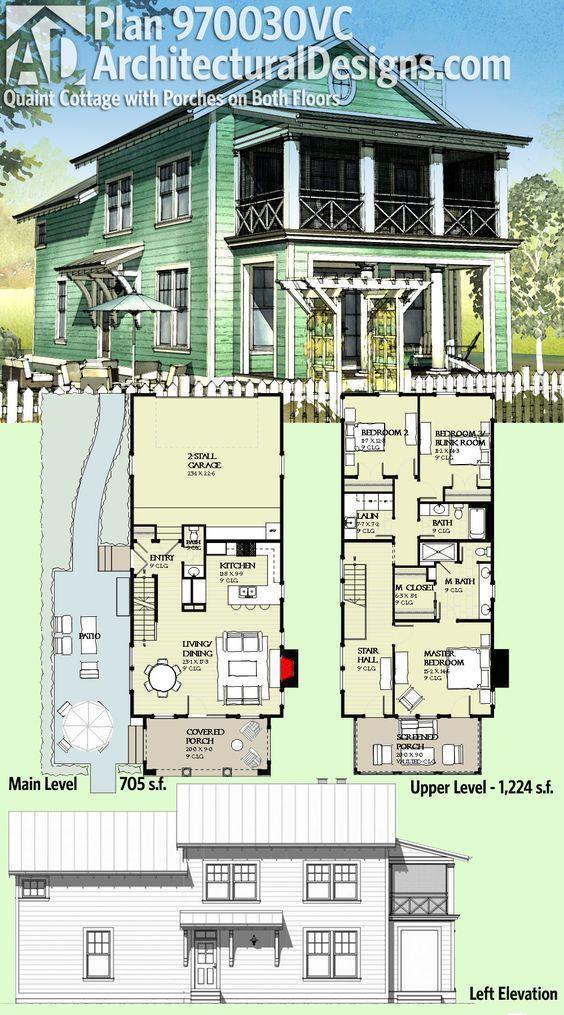 Plan 970030vc Quaint Cottage With Porches On Both Floors Beach House Plans Architectural Design House Plans Narrow House Plans