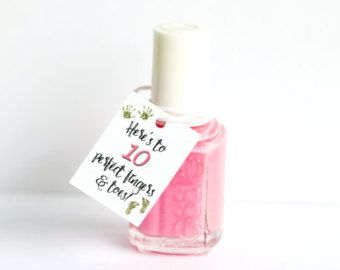 Nail Polish Favor Tags Sign Mani Thanks Bridal Shower Baby Wedding Birthday Party Tag By PinkFoxPapercra