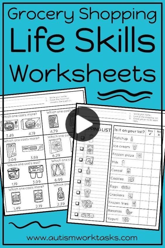 Life Skills Worksheets Grocery Store In 2020 Life Skills Classroom Life Skills Life Skills Activities Basic life skills worksheets