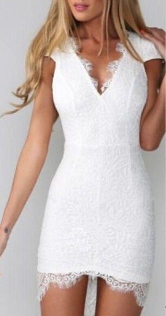 White Plain Lace Spliced Backless Hollow-out V-neck Cap-sleeve Slim Short Sleeve Cocktail Mini Dress - Mini Dresses - Dresses