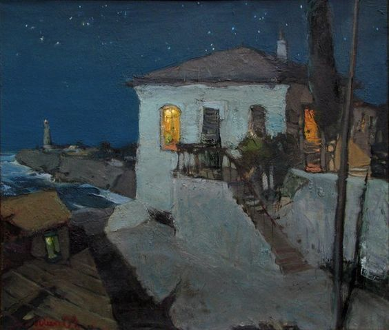 Igor Shipilin painting of a house at twilight