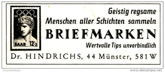 Original-Werbung/Inserat/ Anzeige 1968 - BRIEFMARKEN - DR.HINDRICHS  - ca. 75 X 30 mm