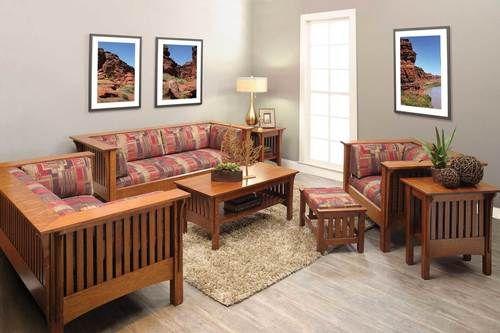 Mission Style 6 Piece Living Room Set 1800 75 Qf Set Ruang Keluarga Kursi Ruang Keluarga Ruang Tamu Biru Mission style living room decorating