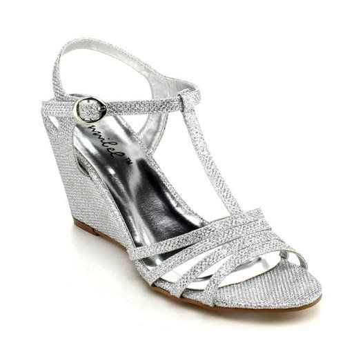 BONNIBEL FLOSA-1 Women Glitter T-strap Wedge Heel Ankle Strap ...
