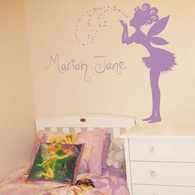 This magical fairy wall decal is standing here ready to make a wish over your little one's walls! She measures 22 inches wide by 44 inches high, and is shown here in our matte lavender. The sprinkling of stars will come ready to apply, as pictured, and they measure 21 inches wide by 15 inches high.