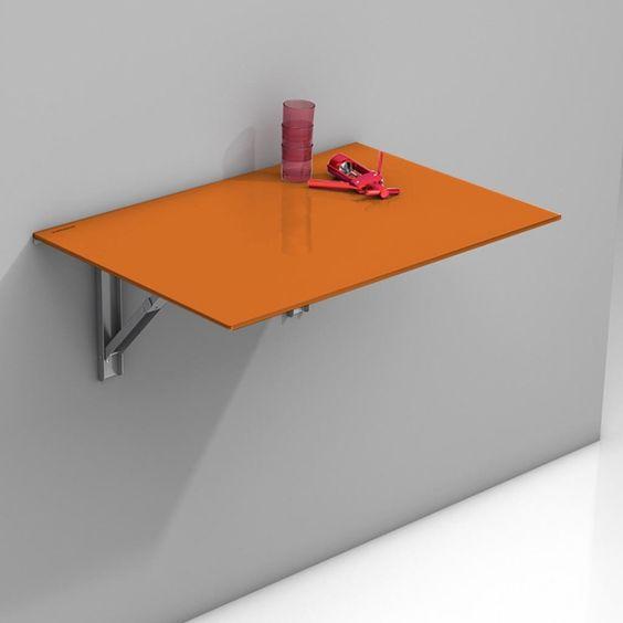 Mesa abatible vulcano con sobre de cristal en color - Mesa plegable pequena ...