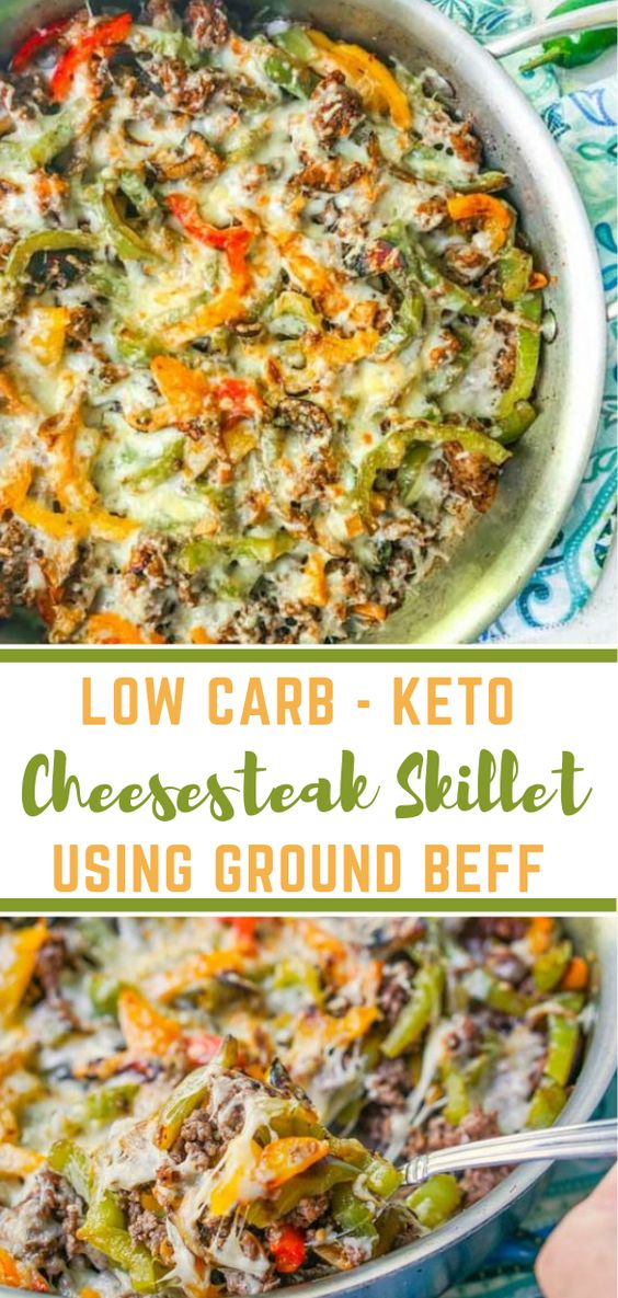 Low Carb Cheesesteak Skillet using Ground Beef #lowcarb #diet