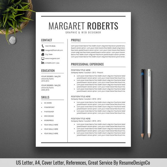 Professional Resume Template, CV Template, Cover Letter, US Letter - simple professional resume template