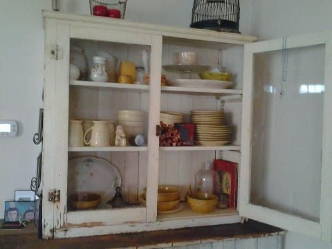 This is a cupboard I got quite a few years ago, thanks to Cindy for letting me take it, I love how all the dishes pop against the white, glad I saved this amazing piece of furniture!
