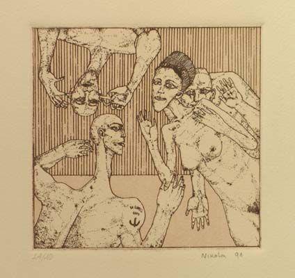 """Eros I"", 1991. Aguafuerte y aguatinta sobre Zinc de 12x12,5 cm., Papel Michel de 240 gr. de medidas 38x27,5 cm. Ej.: 40"
