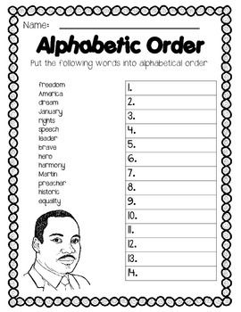 Printables Ela Common Core Worksheets martin luther king jr ela common core and more mlk themed worksheets including