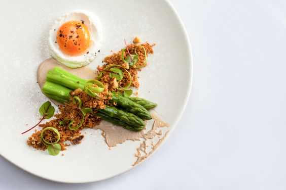 Asparagus, walnut, confit egg yolk and brioche crumbs # ...