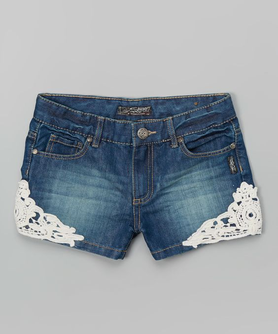 Silver Jeans Co. Medium Wash Lace Detail Denim Shorts - Toddler ...