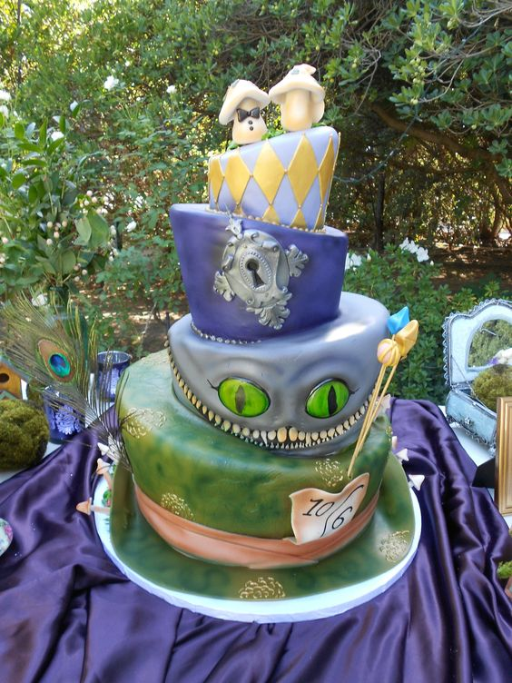 alice and wonderland wedding cake in themed wedding cake frosted cakery 10665