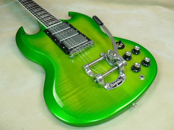 2013 Gibson SG Deluxe Electric Guitar Lime Burst | guitar ...