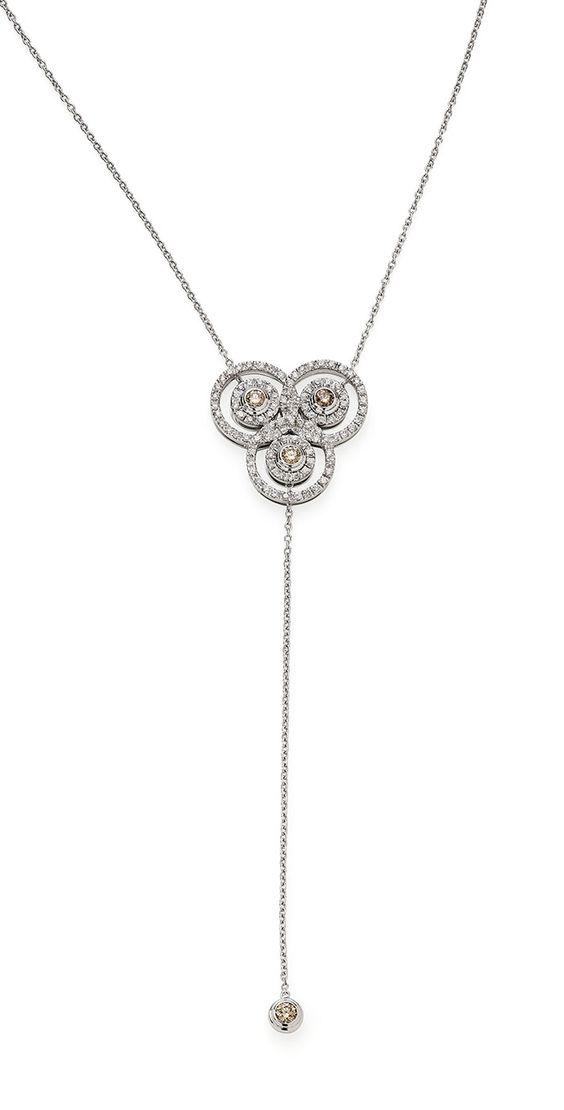 Colar de ouro branco 18K com diamantes brancos e cognac - Coleção Jogo de Cartas - Modelo: PE3B202729