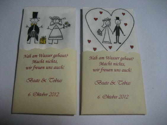50 Gastgeschenke Taschentücher Hochzeit Freuden... von SiSa-Shop-de auf DaWanda.com