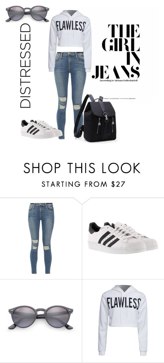 """Untitled #36"" by harshita18-6 ❤ liked on Polyvore featuring Frame, adidas, Ray-Ban and WithChic"